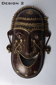 Brass Metal Good Luck Mask - Tribal Dhokra Art DBA01-2 - Simply Roka