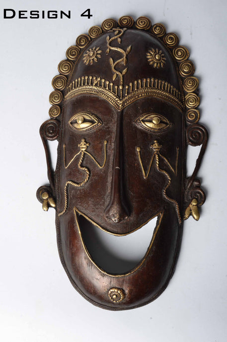 Brass Metal Good Luck Mask - Tribal Dhokra Art DBA01-4 - Simply Roka