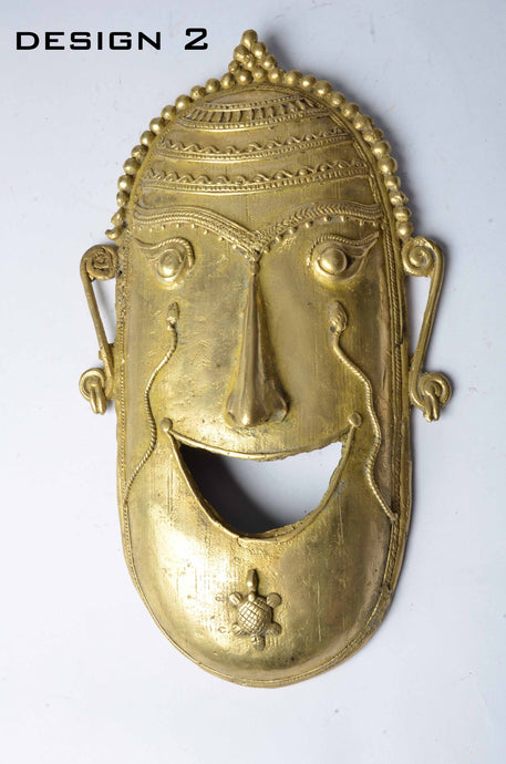 Brass Metal Smiley Mask - Tribal Dhokra Art - DBA10-2 - Simply Roka
