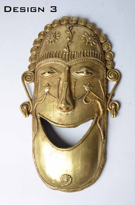 Brass Metal Smiley Mask - Tribal Dhokra Art - DBA10-3 - Simply Roka