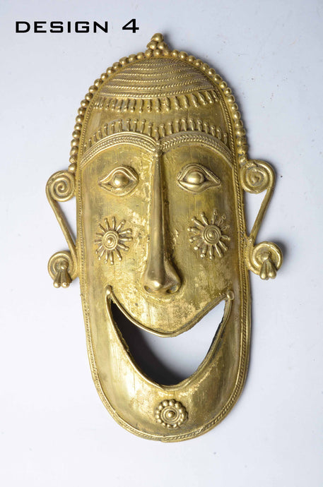 Brass Metal Smiley Mask - Tribal Dhokra Art - DBA10-4 - Simply Roka