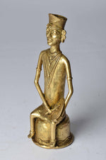 Brass Metal 10 inch Tribal Musician Figurine - Sitting -  Dhokra Art Simply Roka