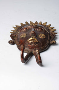 Brass Metal Figurines - Tribal Mask Coat / Key Hangers - Dhokra Art - DBA13-3 - Simply Roka