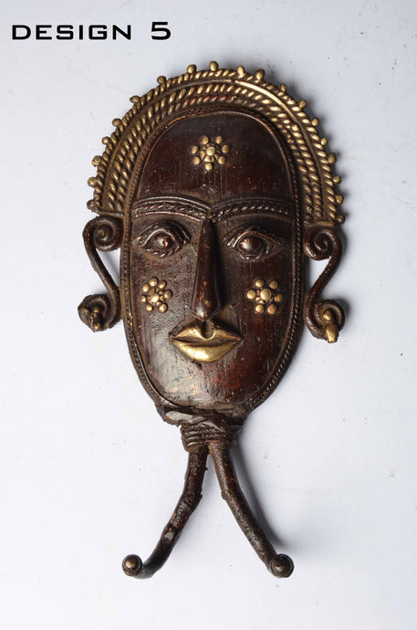 Brass Metal Figurines - Tribal Mask Coat / Key Hangers - Dhokra Art - DBA13-5 - Simply Roka