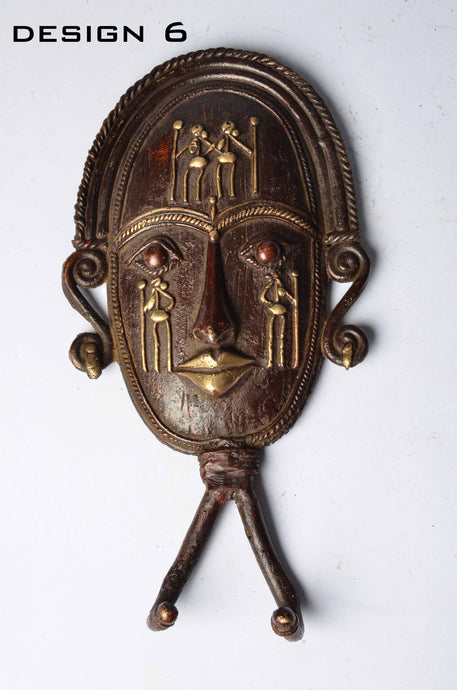 Brass Metal Figurines - Tribal Mask Coat / Key Hangers - Dhokra Art - DBA13-6 - Simply Roka