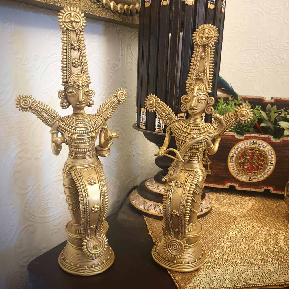 Brass Metal Musician Figurine - Tribal Dhokra Art Simply Roka