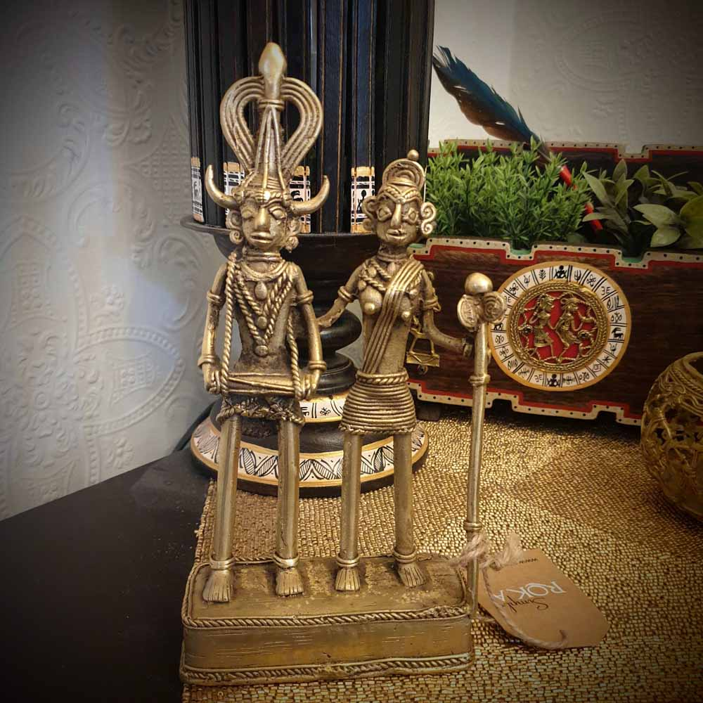 Brass Metal Couple Dance - Tribal Dhokra Art Simply Roka