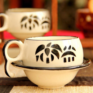 Set of 6 small Cups and Saucers - Black & White Simply Roka