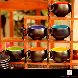 Set of 6 Espresso Cups and Saucers - Black & Multi coloured - Simply Roka