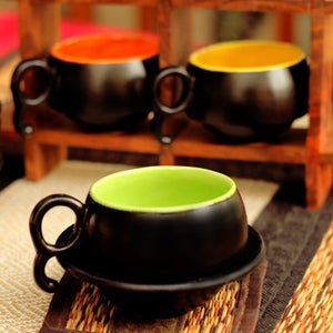 Set of 6 small Cups and Saucers - Black & Multi coloured Simply Roka