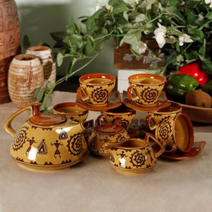 Hand Painted 15 Piece Tea Set for 6 - Brown - Simply Roka