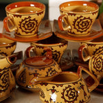 Hand Painted 15 Piece Tea Set for 6 - Brown Simply Roka