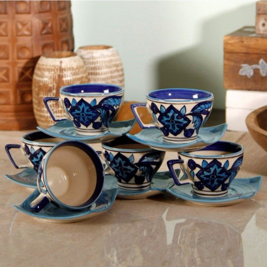 Set of 6 Espresso Cups and Saucers - Blue - Simply Roka