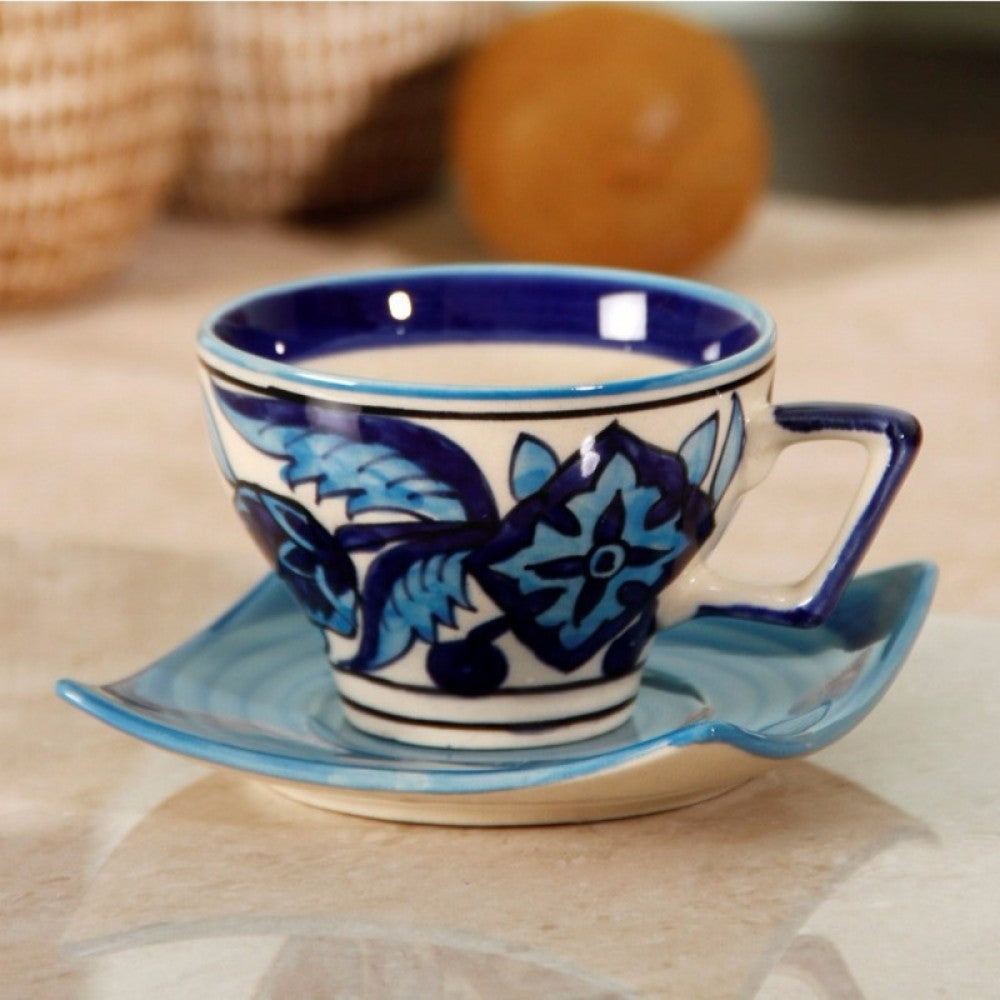 Set of 6 small Cups and Saucers - Blue Simply Roka