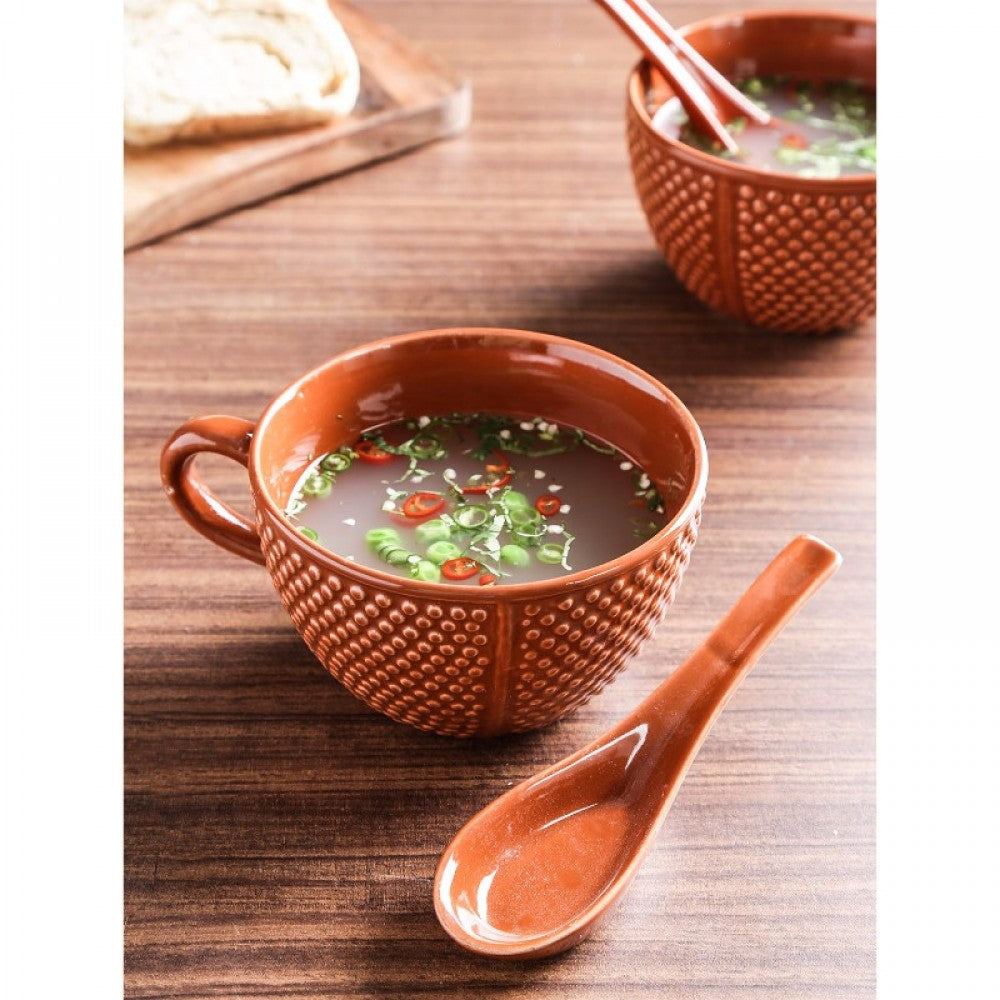 Soup Bowl with spoon - Red Sand Simply Roka