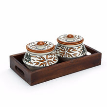 Set of 2 Serving Bowls with Tray - Floral - Simply Roka