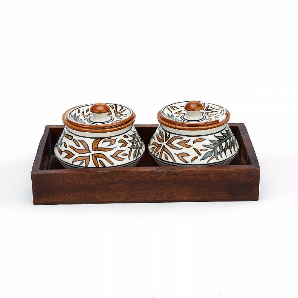 Set of 2 Serving Bowls with Tray - Floral Simply Roka
