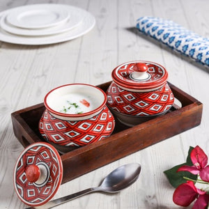 Set of 2 Serving Bowls with Tray - Red - Simply Roka