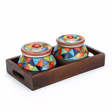 Set of 2 Serving Bowls with Tray - Multi colour - Simply Roka