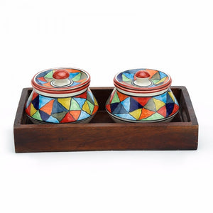 Set of 2 Serving Bowls with Tray - Multi colour Simply Roka