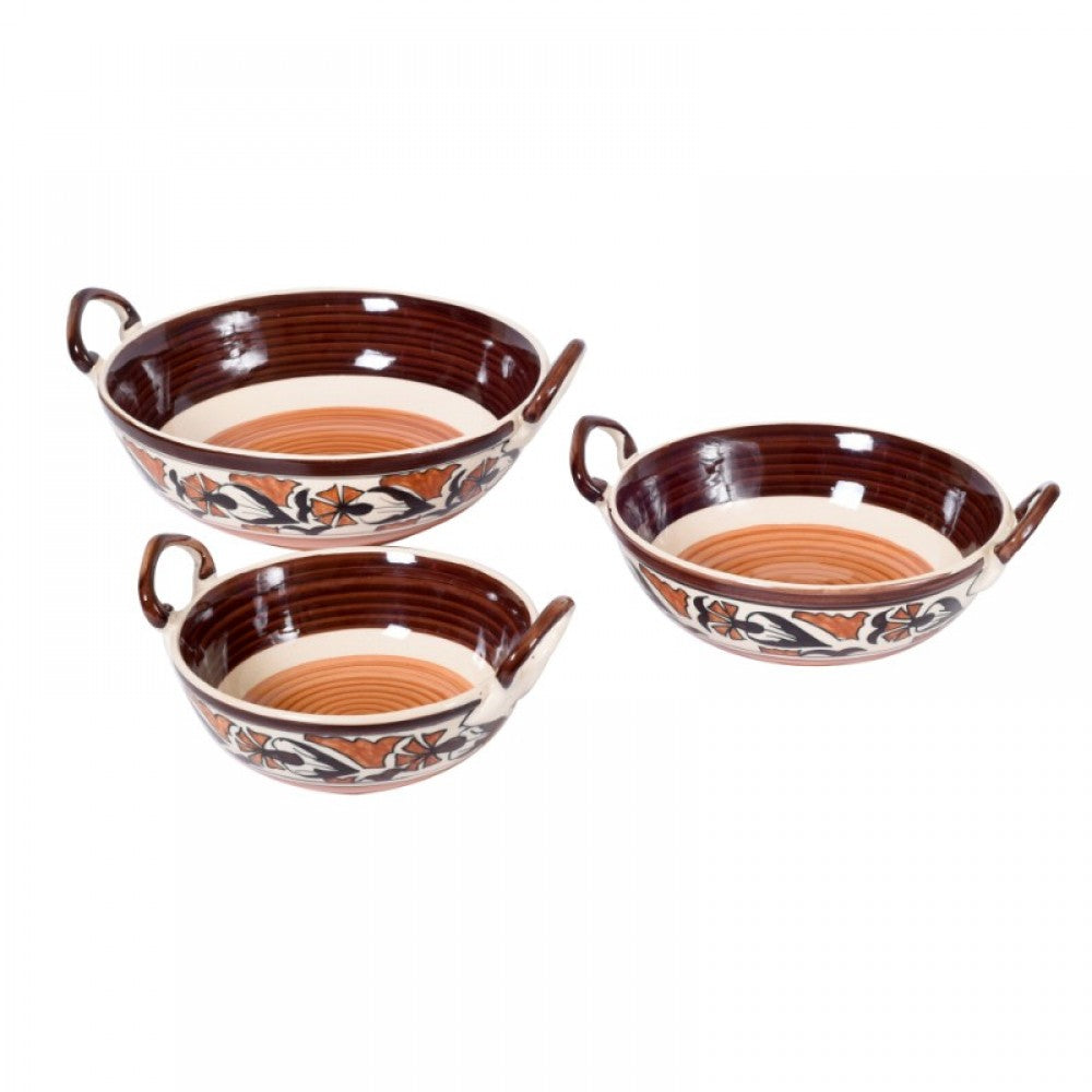 Set of 3 Serving Bowls with Handle - Floral Simply Roka
