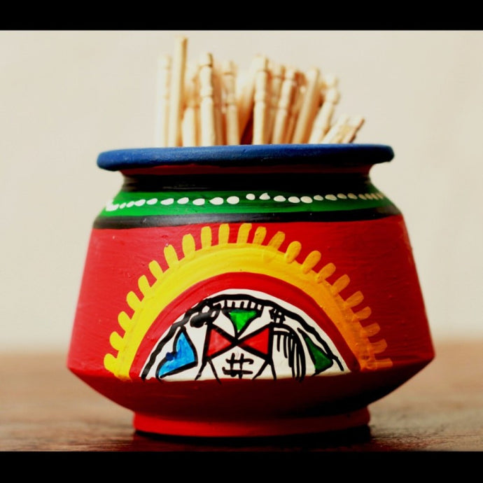 Toothpick Holder Warli Art - Red - Simply Roka
