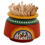 Toothpick Holder Warli Art - Red Simply Roka