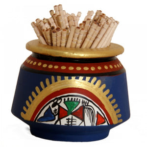 Toothpick Holder Warli Art - Blue Simply Roka