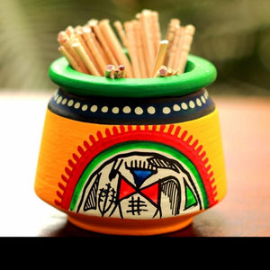 Toothpick Holder Warli Art - Yellow - Simply Roka