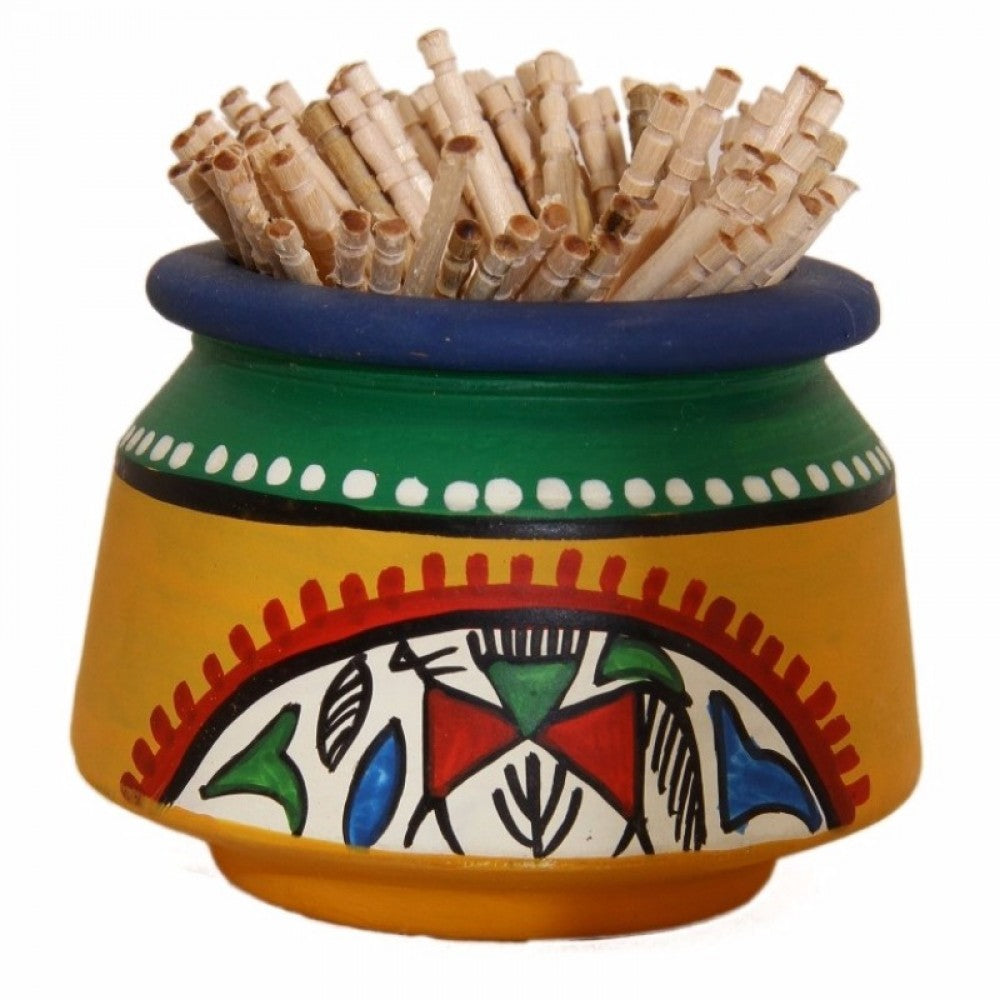 Toothpick Holder Warli Art - Yellow Simply Roka