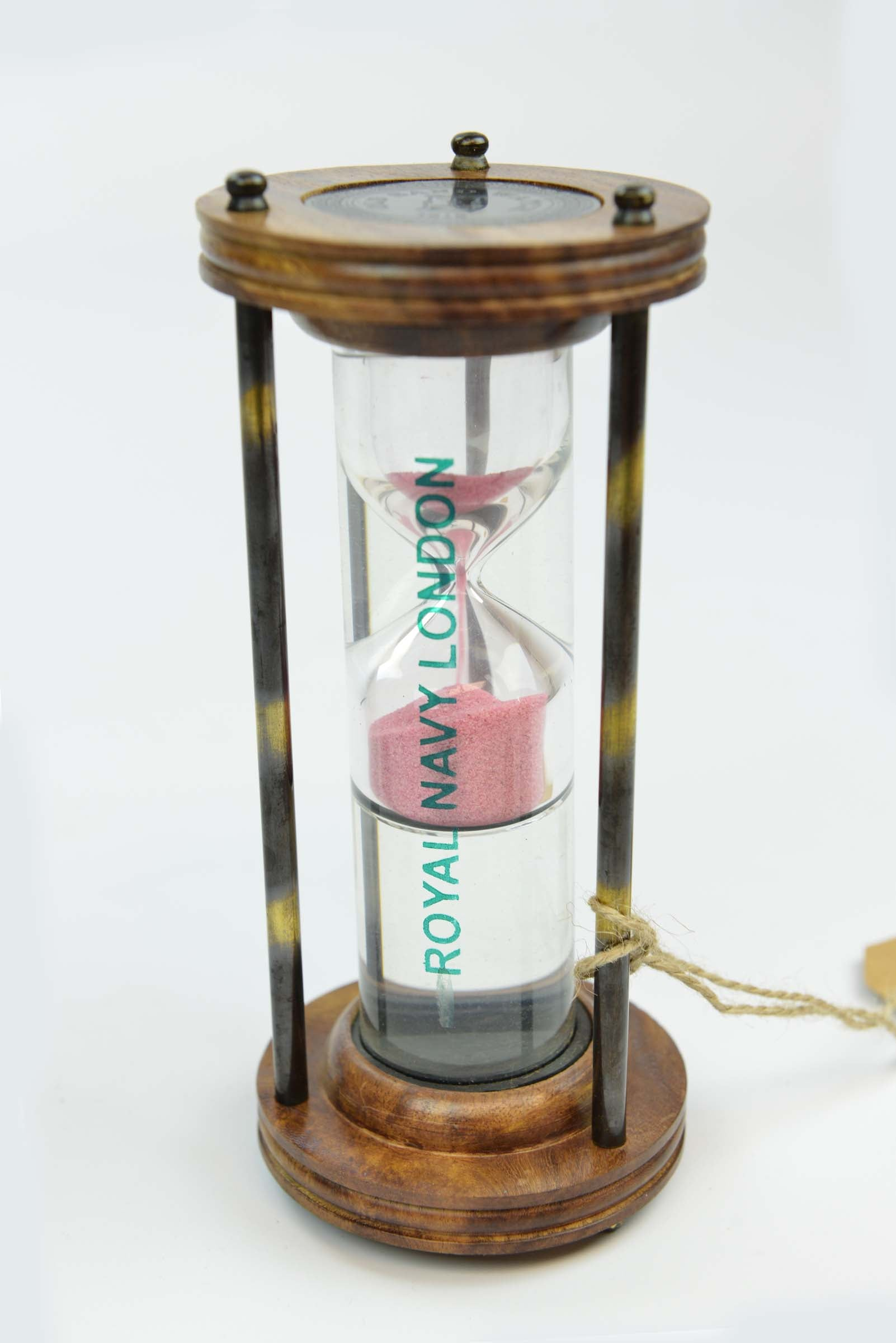 Royal Navy London - Vintage antique Look Wood Glass and Brass Liquid Sand Timer Simply Roka