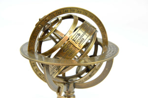 Armillary Sphere Brass and Wooden Base Decorative Reproduction - Simply Roka