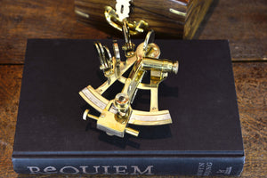 Vintage Brass Sextant Reproduction + wooden box - Simply Roka