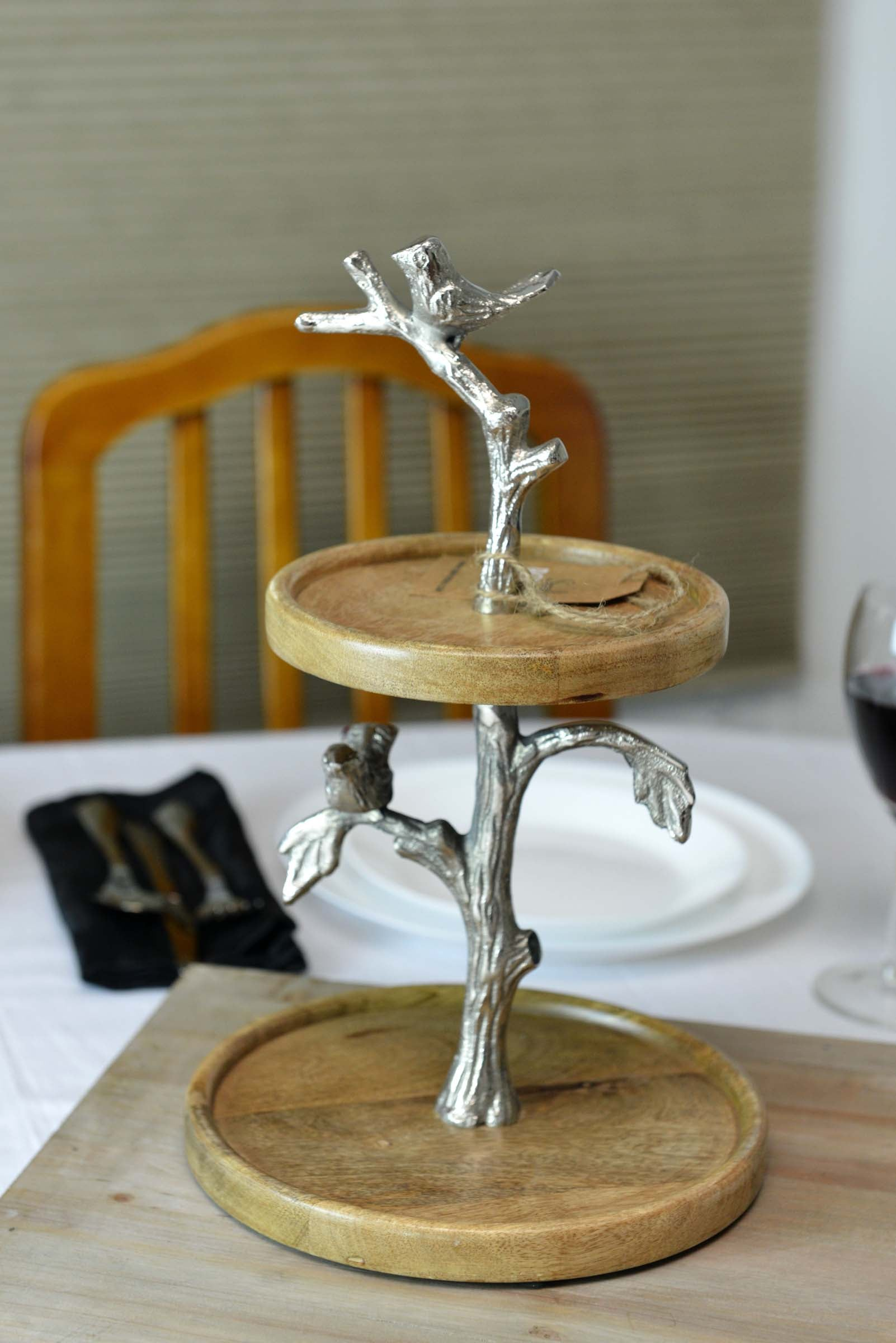 Chitoor - Mango Wood Cake / Serving Stand - Birds Simply Roka