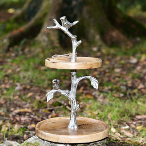 Chitoor - Mango Wood Cake / Serving Stand - Birds