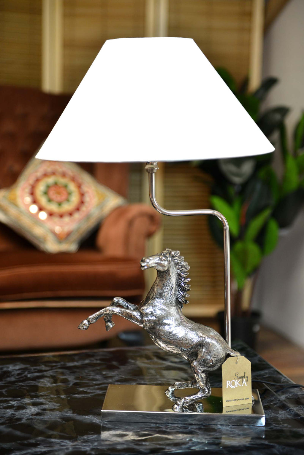 Akhal - Aluminium Horse Table Lamp Base - Nickel Finish Simply Roka