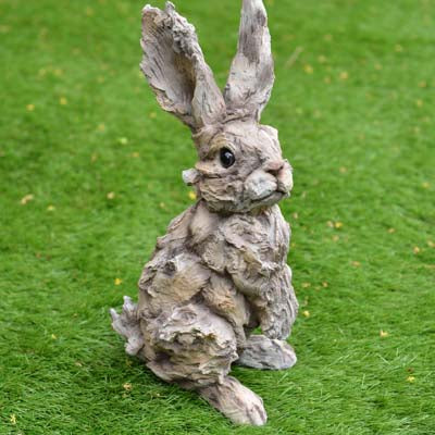 Rabbit Ornament - Wood effect 41cm - Simply Roka