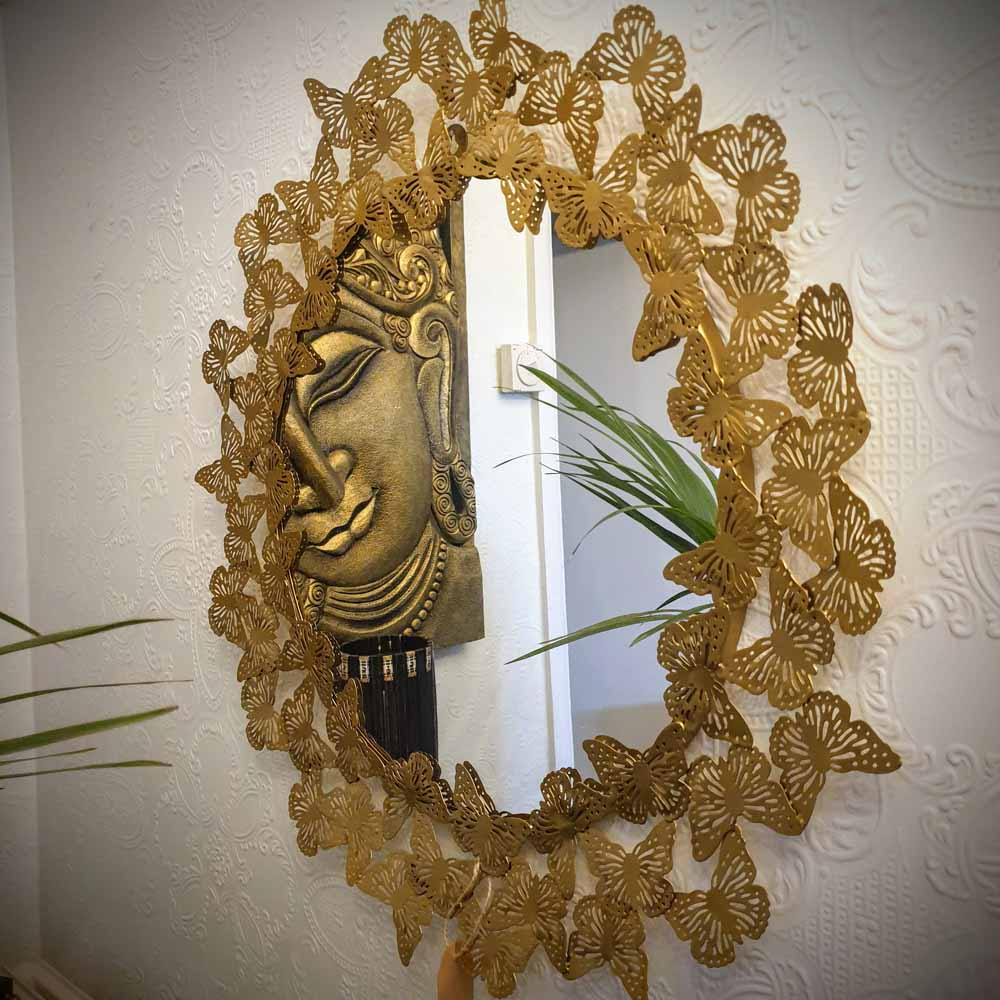Round Butterfly Wall Mirror Simply Roka