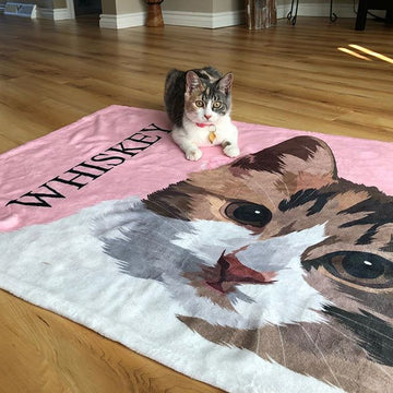 Custom Pet Fleece Blanket (With Text)