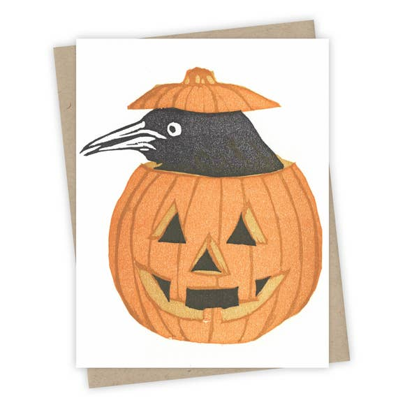 Jack-O-Lantern Grackle Card