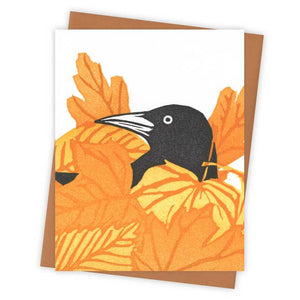 Leaf Pile Grackle Card