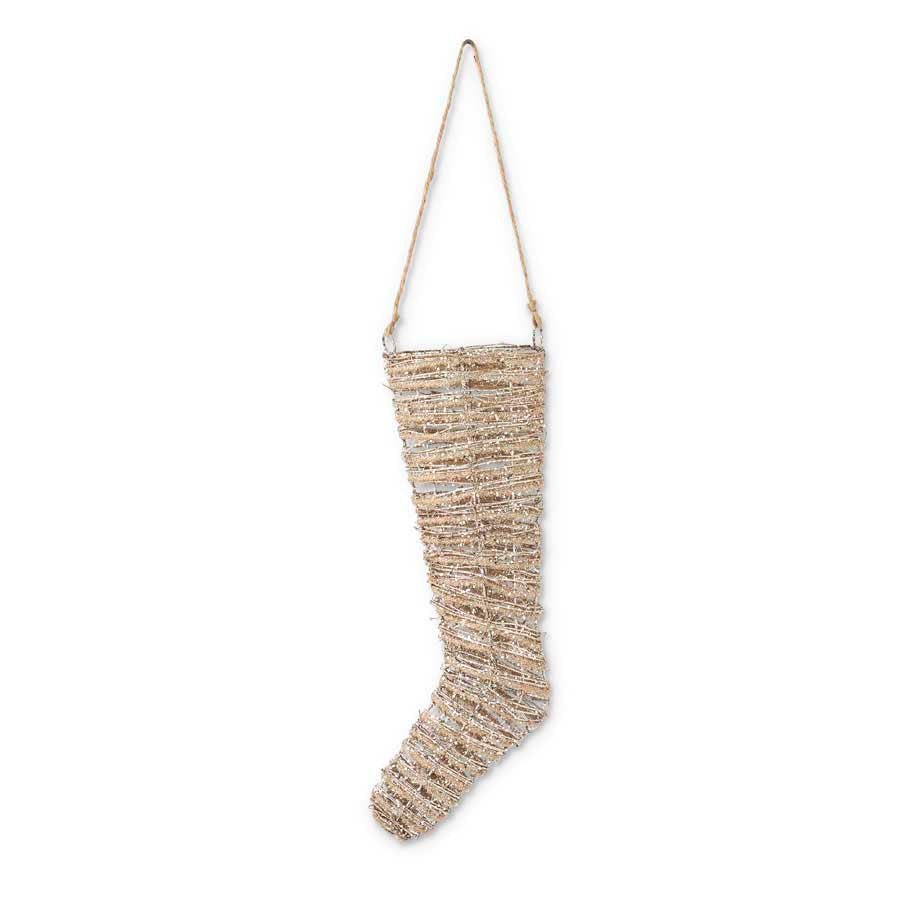 18 inch Glittered Rattan & Sisal Stocking Ornament