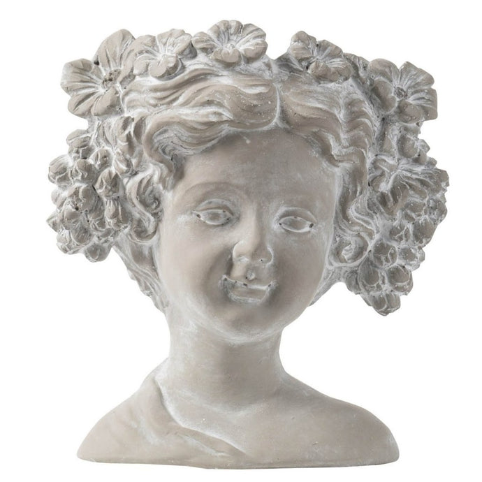 Cement Planter - Bust of Woman with grapes and flowers