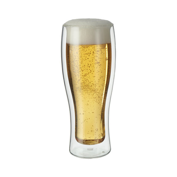 Zwilling Sorrento Double Walle 14 oz Beer Glass shown with a full glass of beer with a good foam head on it