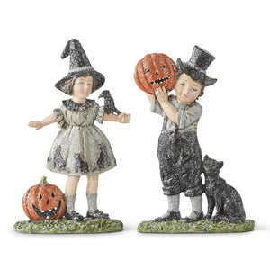 Girl and Boy with Pumpkins