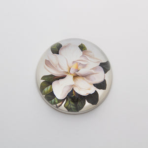 Magnolia - Crystal Dome Decoupaged Paperweight