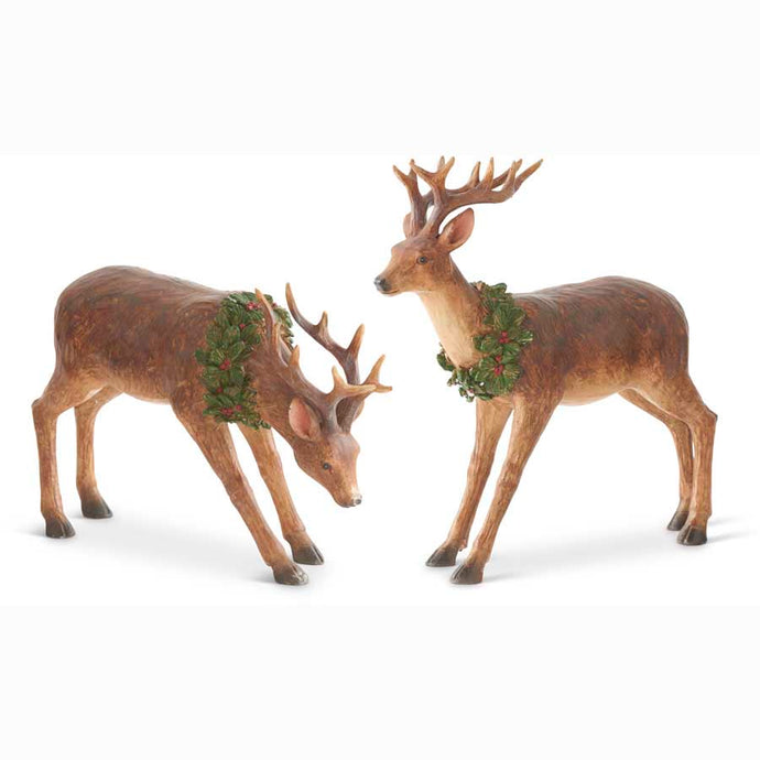 Standing or Bending Bucking Reindeer  with Wreath Around Neck