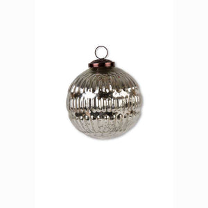 3.5 Round Mercury Glass Silver Ornament