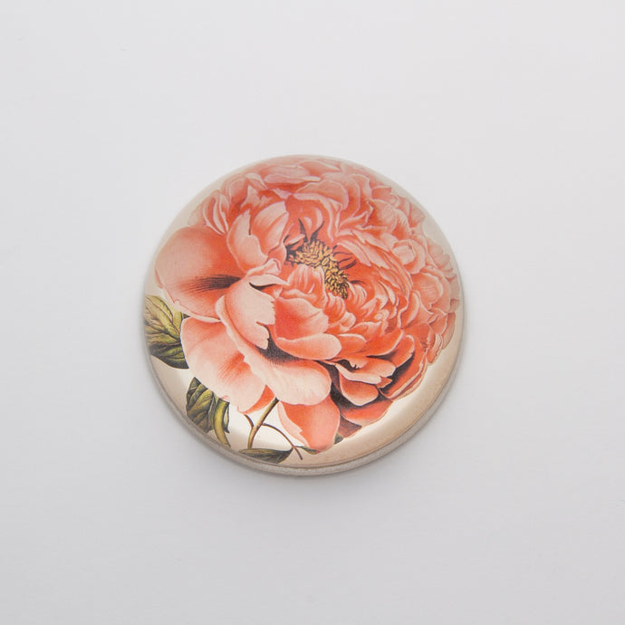 Peony - Crystal Dome Decoupaged Paperweight