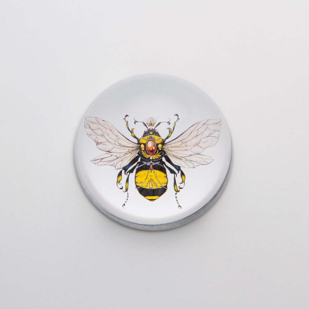Yellow Jeweled Bee - Crystal Dome Decoupaged Paperweight